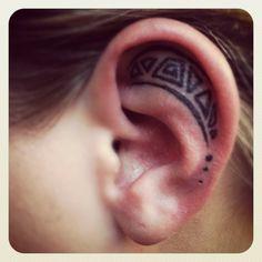 #geometric #tattoo #ear #black