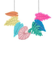 Expression-ist yourself in the Fauve Foliage Necklace. A rainbow of etched and inked leaves tessellate against a silver tone chain. Devine Design, Tatty Devine, Jewelry Art, Jewellery, Acrylic Art, Kitsch, Crochet Earrings, Handmade Jewelry, Brooch