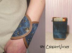 Denim Leather Wrist purse/Woman wrist wallet cuff by CREATIVICKY