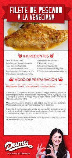 Filete de pescado a la veneciana  Ingredientes  4 filetes de pescado 5 cucharadas de aceite vegetal 1 taza de cebolla picada 1 taza de vino blanco seco 3 cucharaditas de vinagre de vino 2 ramitas de hierbabuena fresca 2 dientes de ajo picado 1/4 taza de harina Sal & pimienta al gusto 1 limón en rebanadas delgadas 1/2 naranja en rebanadas delgadas Modo de preparación Preparación: 20min  ›  Cocción: 6 min  ›  Listo en: 26min