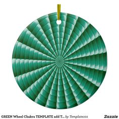 GREEN Wheel Chakra TEMPLATE add TXT IMG Customize Double-Sided Ceramic Round Christmas Ornament