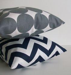 Navy and Gray Pillows: Chevron & Dots