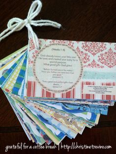 Pregnancy prayer cards.  Will have to remember this for the next pregnant friend.