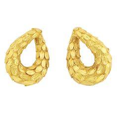Lot 354 - Pair of Gold Hoop Earclips, David Webb