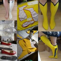 This is how I made my Spider woman boots! First I had my foot taped, then cut it into pattern pieces. I took some cheap shoes apart so I could use the soles. Then cut the pattern pieces from fabric, sewed the pieces together, and finally glued the soles o