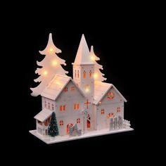 Village de Noël église éclairée en bois blanc L'unité