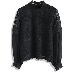 Chicwish Song of Crochet Top in Black ($45) ❤ liked on Polyvore featuring tops, blouses, black, dressy blouses, crochet bell sleeve top, crochet lace blouse, crew neck blouse and fancy blouse