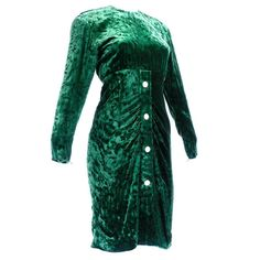 1980s Christian Dior Couture Green Velvet Cocktail Dress | From a collection of rare vintage evening dresses and gowns at https://www.1stdibs.com/fashion/clothing/evening-dresses/