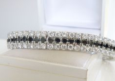 New Sterling Silver 925 3 ROW Black White Cubic Zirconia Tennis Bracelet #Designer #Statement