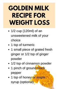 10 Ways to Use Turmeric for Weight Loss - - 10 Ways to Use Turmeric for Weight Loss Turmeric Benefits Golden milk is a beverage that capitalizes on the benefits of turmeric in combination with other healthy ingredients like milk, ginger and black pepper. Turmeric Drink, Turmeric Recipes, Tumeric Latte Recipe, Ginger Tumeric Tea, Tumeric Detox, Turmeric Golden Milk, Turmeric Paste, Turmeric Health, Turmeric Smoothie