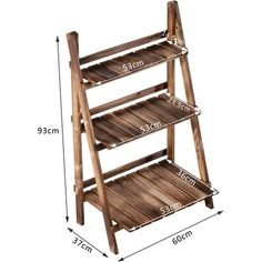 Outsunny Wooden Folding Flower Stand 3 Tier Planter Display Ladder (60L x 37W x 93H (cm))