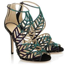 Blue Bottle Mix Suede and Hotfix Crystal Sandals | Kallai | Spring Summer 2014 | JIMMY CHOO Sandals