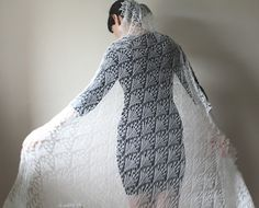 Romantic large cream cashmere lace veil/shawl/wrap by MazeOfLace
