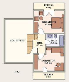 proiecte de case cu semineu House plans with fireplaces 15 Craftsman Floor Plans, One Bed, Design Case, Two Bedroom, Bedrooms, House Plans, Flooring, How To Plan, Mansions