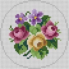 Pretty X-stitch flowers Mini Cross Stitch, Cross Stitch Rose, Cross Stitch Flowers, Cross Stitch Charts, Cross Stitch Designs, Cross Stitch Patterns, Cross Stitching, Cross Stitch Embroidery, Embroidery Patterns