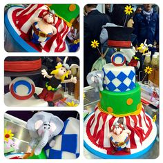 Le Cirque de la France Funny cake in circus theme with Asterix and Obelix in sugar paste