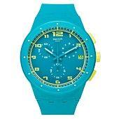 Swatch Watch, Unisex Swiss Chronograph Acid Drop Light Blue Silicone Strap 42mm SUSL400