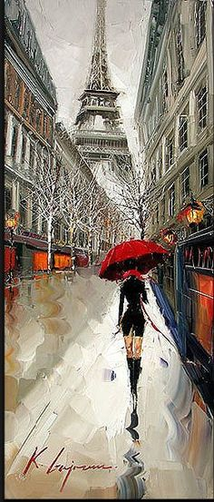 Kal Gajoum - Rainy day in Paris, sky looks good and the grey-ness is very nice,  the street looks wet and puddly and the red umbrella stands out well