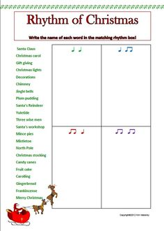 Rhythm of Christmas worksheet: great to put into ActivInspire and use on a Promethean board. Piano Lessons, Music Lessons, Music Theory Worksheets, Piano Teaching, Music Activities, Music For Kids, Elementary Music, Music Therapy, Music Classroom