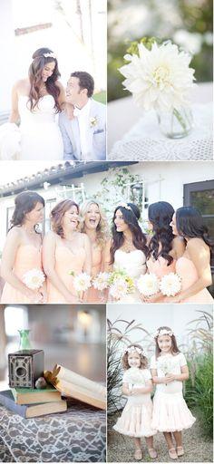Donna Morgan bridesmaid dresses via Nordstrom - also love the big dahlia bouquets