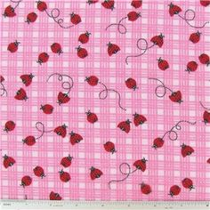 PINK Lady BUGS PLaid Flannel Fabric By the Yard GIRLS Novelty Kids Baby Nursery Fun Craft sewing quilting material