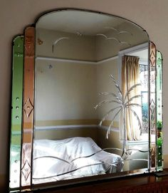 ORIGINAL EXTRA-LARGE ART DECO/VINTAGE OVERMANTLE/OVERMANTEL WALL MIRROR. in Antiques, Periods/Styles, Art Deco | eBay!