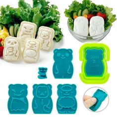 Also, bento supplies! CuteZcute Animal Palz Mini Sandwich and Egg Press - Fondant Cutter, Sandwich Maker, Egg Mold, great for picky eaters, bento school lunch : A...