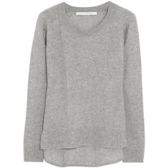 Diane von Furstenberg Cashmere sweater ($280) ❤ liked on Polyvore featuring tops, sweaters, shirts, jumper, grey, knitwear, medium knit, cashmere shirt, shirts & tops and grey jumper