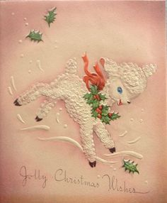 Jolly Christmas Wishes. Christmas Lamb. Vintage Christmas Card. Retro Christmas Card.