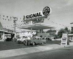 Old cars and gas station photos
