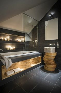 Bathroom tiles in concrete look bathroom furniture wood