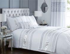 Modern Sequin Quilt Duvet Cover & 2 Pillowcase Bedding Bed Set Black White New