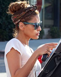 BEST: Eva Mendes Love the scarf turned headband! I thought I was the only one to do this! Sunglasses great also.