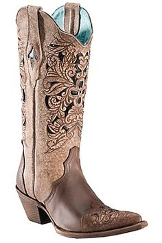 Corral Ladies Brown Floral Tool w/ Black Inlay Pointed Toe Western Boots