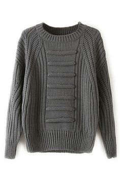 ROMWE Ribbed Knitted Retro Style Grey Jumper