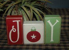 JOY Primitive Wood Sign Block Sign Christmas on Etsy, $16.95