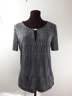 Calvin Klien Blouse Small Black White Pinstriped Print Short Sleeve  #CalvinKlein #Blouse #Career