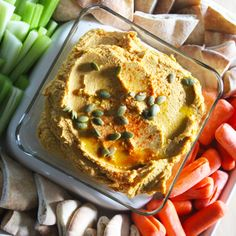 Pumpkin Hummus Recipe, Dirt to Delish, A healthy lifestyle blog. | A fall twist on a classic recipe, this pumpkin hummus is the perfect side dish for fall parties and makes a great appetizer for Thanksgiving (or Friendsgiving) dinner!