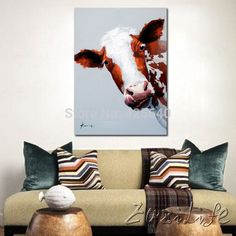 Aliexpress.com : Buy Cow  hand painted Oil painting On Canvas Wall Pictures Paintings For Living Room Wall Art Canvas Pop art Cow modern abstract   from Reliable decorative painting pictures suppliers on Eazilife Oil Painting  | Alibaba Group
