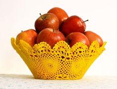 Crochet flower design bowl waterproof by undun on Etsy, €25.00