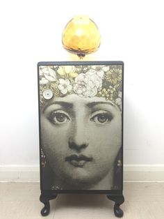 Upcycled Solid Wood Vintage Bedside Cabinet Table Decoupaged In Fornasetti Print | eBay