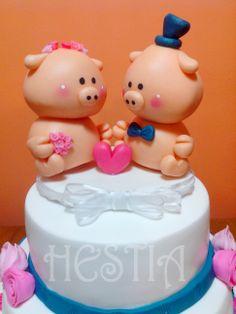 Original torta para un casamiento. Pigs cake. Para Sol y Maxy. ♥