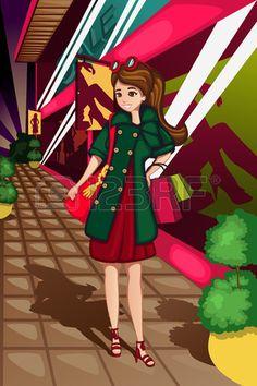 Une illustration de vecteur de femmes �l�gantes du shopping photo