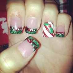 Christmas holly candy cane stripe red and green nail design