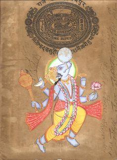 Varaha Painting Handmade Third Incarnation of Vishnu The Boar Hindu Deity Art Mughal Paintings, Tanjore Painting, Indian Paintings, Om Namah Shivaya, Mythology Paintings, Hindu Worship, Wallpaper Doodle, Krishna Photos, Krishna Pictures