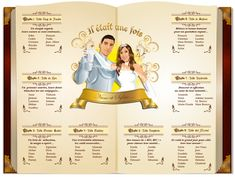 Plan de tables de mariage princesse livre de conte de fées - Princess wedding seating plan © www.studio-postsc...