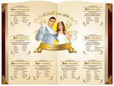 Plan de tables de mariage princesse livre de conte de fées - Princess wedding seating plan © www.studio-postsc...