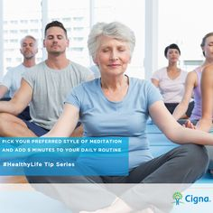 #HealthyLife Tip – Choose your preferred #meditation #method and add 5 minutes to your daily practice. Has meditating lessened your stress level this week?