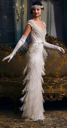 Bring these incredible wedding dresses to bring out your inner flapper girl . - These incredible wedding dresses bring out your inner flapper girl - Flapper Girls, Flapper Dresses, Flapper Outfit, Dresses Dresses, Vintage Flapper Dress, The Flapper, 1920s Vintage Wedding Dress, Vintage Glamour Wedding, Wedding Inspiration