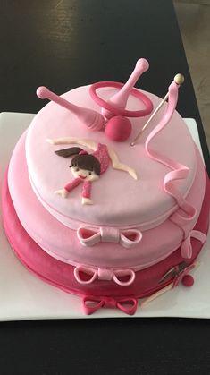 Dance Birthday Cake, Gymnastics Birthday Cakes, Gymnastics Party, Rhythmic Gymnastics, Art Party Cakes, Torta Baby Shower, Cake Designs, Cake Pops, Fondant